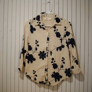 Anthropologie Embroidered Floral Button Blouse